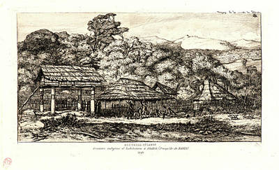 Indigenous Culture Drawing - Charles Meryon French, 1821 - 1868. Indigenous Barns by Litz Collection