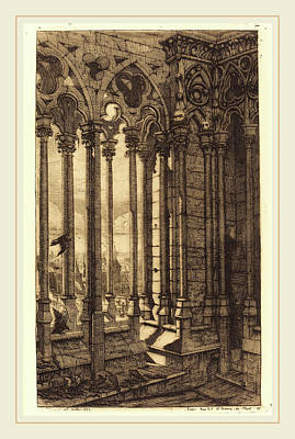 Notre Dame Drawing - Charles Meryon French, 1821-1868, La Galerie Notre-dame by Litz Collection