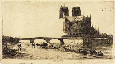 Notre Dame Drawing - Charles Meryon French, 1821 - 1868, Labside De Notre-dame by Quint Lox