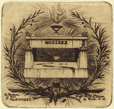 Cemetary Drawing - Charles Meryon French, 1821 - 1868, Le Tombeau De Molière by Quint Lox