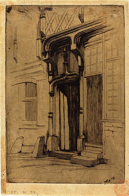 Ancien Drawing - Charles Meryon, French 1821-1868, Porte Dun Ancien Couvent by Litz Collection