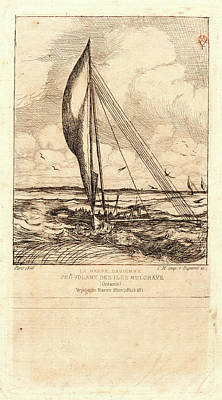 Oceania Drawing - Charles Meryon French, 1821 - 1868. Swift-sailing Proa by Litz Collection