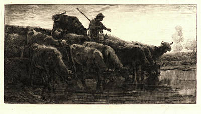 Troupeau Drawing - Charles Émile Jacque French, 1813 - 1894. Herd Of Cows by Litz Collection