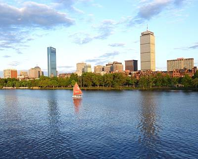 Hancock Building Digital Art - Charles River Sailboat by Toby McGuire