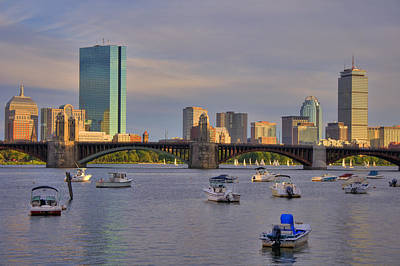 Boston Skyline Panoramic Photograph - Charles River Sunset - Boston by Joann Vitali