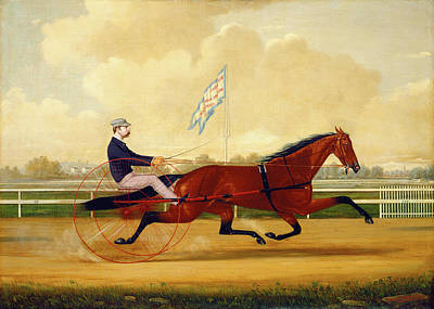 Humphrey Painting - Charles S. Humphreys, Budd Doble Driving Goldsmith Maid by Litz Collection