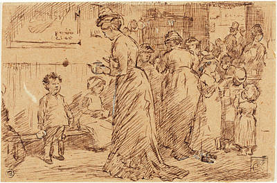 Buffet Drawing - Charles Samuel Keene, British 1823-1891 by Litz Collection