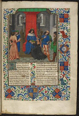 Charles V Receives Book From Translator Art Print by British Library