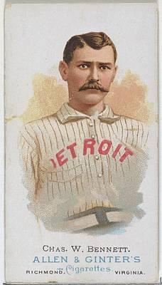 Baseball Cards Drawing - Charles W. Bennett, Baseball Player by Allen & Ginter