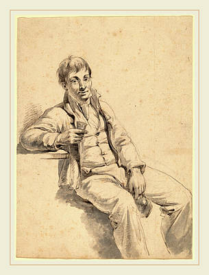 Wesley Jarvis Drawing - Charles Wesley Jarvis, The Drinker, American by Litz Collection