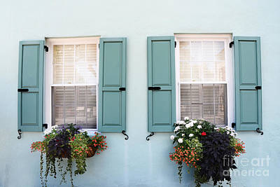 Photograph - Charleston Aqua Teal French Quarter Rainbow Row Flower Window Boxes by Kathy Fornal