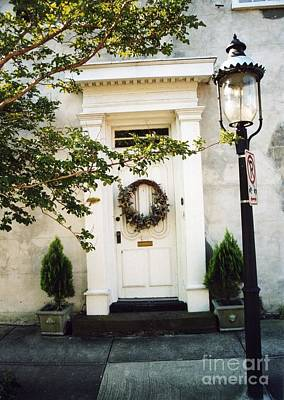 Photograph - Charleston Door With Wreath And Street Lamp by Kathy Fornal