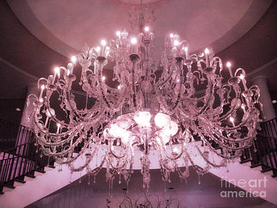 Parisian Chic Photograph - Charleston Dreamy Pink Hotel Chandelier - Elegant Opulent Sparkling Pink Crystal Chandelier by Kathy Fornal