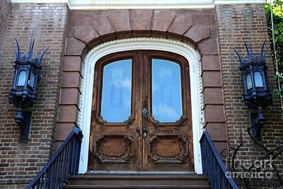 Charleston French Quarter Gothic Ornate Door And Lanterns - Charleston French Quarter Architecture  Art Print by Kathy Fornal