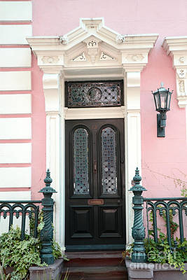Photograph - Charleston French Quarter Pink House - Charleston French Architecture Pink Black And White Door by Kathy Fornal