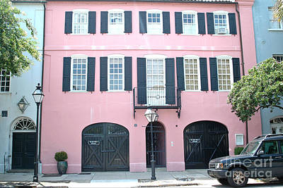 Charleston French Quarter Rainbow Row French Black And Pink Window Shutters Architecture Print by Kathy Fornal