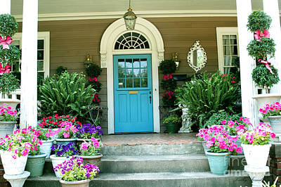Charleston Garden- Blue Door Garden And Floral Art Art Print by Kathy Fornal