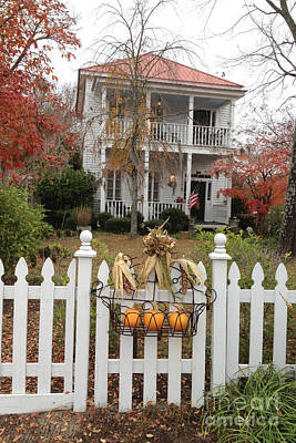 Photograph - Charleston Historical Victorian Mansion - Charleston Autumn Fall Trees And White Picket Fence by Kathy Fornal