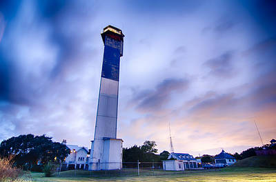 Photograph - Charleston Lighthouse At Night  Located On Sullivan's Island In  by Alex Grichenko