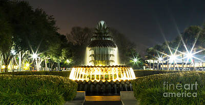 Photograph - Charleston Pineapple Fountain At Dark by Donnie Whitaker