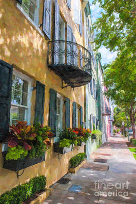 Digital Art - Charleston Rainbow Row by Dale Powell