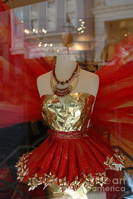 Photograph - Charleston Red And Gold Holiday Dress Shop by Kathy Fornal