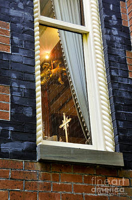 Photograph - Gold Cross In A Window - Charleston S C By Travel Photographer David Perry Lawrence by David Perry Lawrence