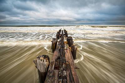 Charleston Sc Folly Beach Coastal Atlantic Ocean Art Print by Dave Allen