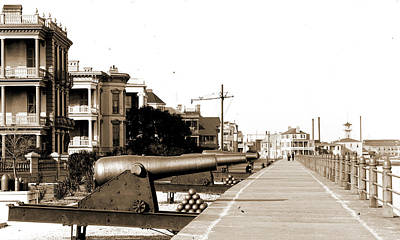 Walkway Drawing - Charleston, S.c, Walkways, Cannons, Waterfronts by Litz Collection