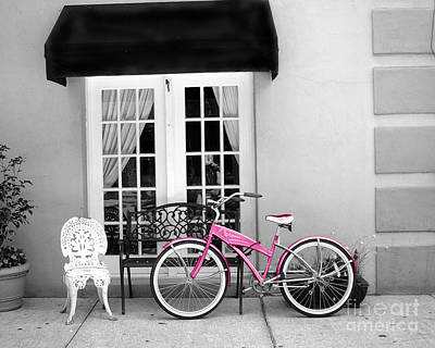 Photograph - Charleston South Carolina Black White Pink Bicycle by Kathy Fornal
