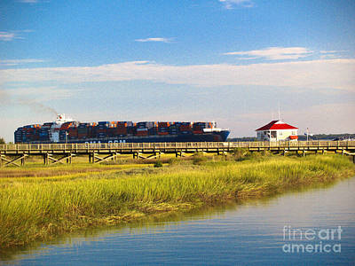 Photograph - Charleston South Carolina Container Ship by Ginette Callaway