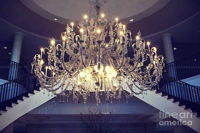 Charleston South Carolina Crystal Chandelier - Sparkling Opulent Elegant Crystal Chandelier  Art Print by Kathy Fornal
