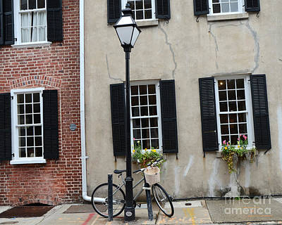 Charleston South Carolina Historic District Architecture Street Lamps And Window Boxes  Art Print by Kathy Fornal