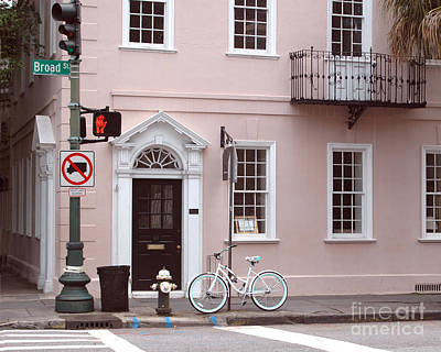 Charleston South Carolina Pink Architecture Street Scene And Bicycle Art Print by Kathy Fornal