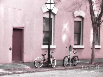 Charleston South Carolina Vintage Pink Bicycles Art Print by Kathy Fornal