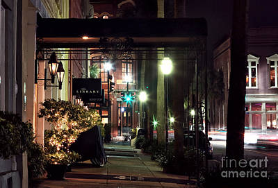 Empty Quarter Photograph - Charleston Streets At Night by John Rizzuto