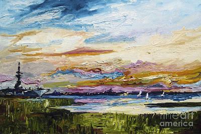 Pleasant Painting - Charleston Sunset Uss Yorktown by Ginette Callaway