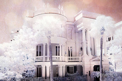 Photograph - Charleston Victorian Mansion Battery Park Infrared Landscape by Kathy Fornal