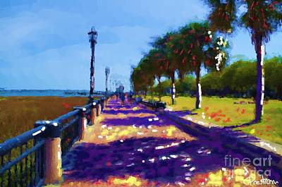 Rainbow Row Painting - Charleston Walkway by Preston Sandlin