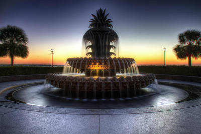 Photograph - Charleston Waterfront Park Pineapple Fountain At Sunrise by Pierre Leclerc Photography