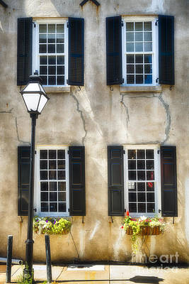 Old House Photograph - Charleston Windows And Lamp Post  by George Oze
