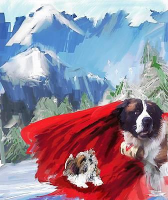 Dog Rescue Digital Art - Charlie And Albert by Richard Okun