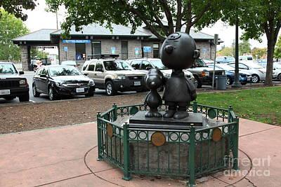 Charlie Brown And Snoopy At Historic Railroad Square Santa Rosa California 5d25825 Art Print by Wingsdomain Art and Photography