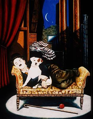 In The Spotlight Photograph - Charlie Chaplin And Scraps, 1992 Oils And Tempera On Panel by Frances Broomfield