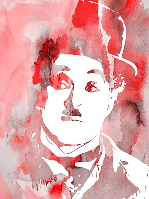 Charlie Chaplin Red Art Print by Dan Sproul