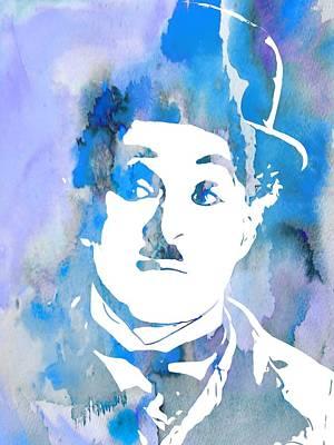Chaplin Digital Art - Charlie Chaplin Watercolor Blue by Dan Sproul