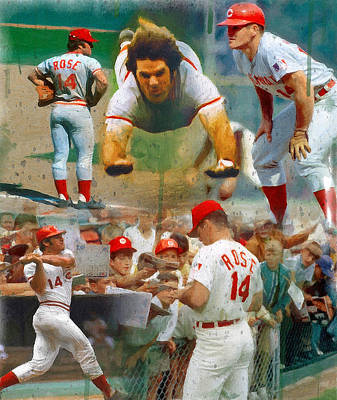 Cincinnati Painting - Charlie Hustle A Collage by John Farr