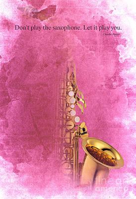 Trumpet Digital Art - Charlie Parker Quote - Sax by Pablo Franchi