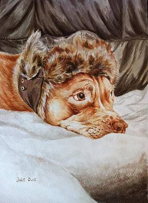 Pittie Painting - Charlie The Cheeky Chappy by Pet Portraits by Julie Bunt