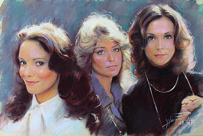 Drawing - Charli's Angels Kate Jackson Farrah Fawcett Jaclyn Smith by Viola El